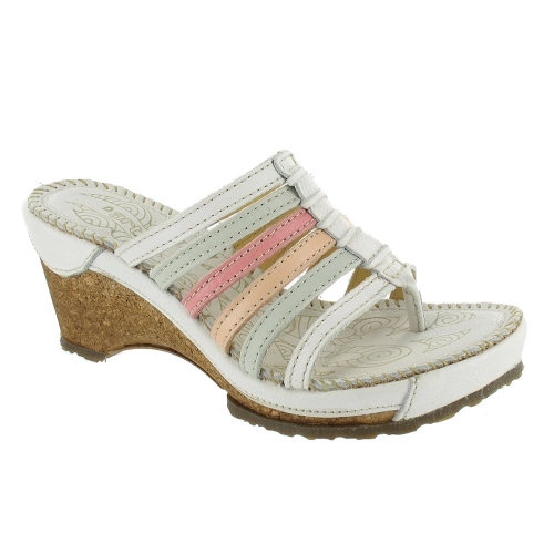 Art Stylish W113 Leather Womens Wedge High Heel Sandals - White, Blue + Pink