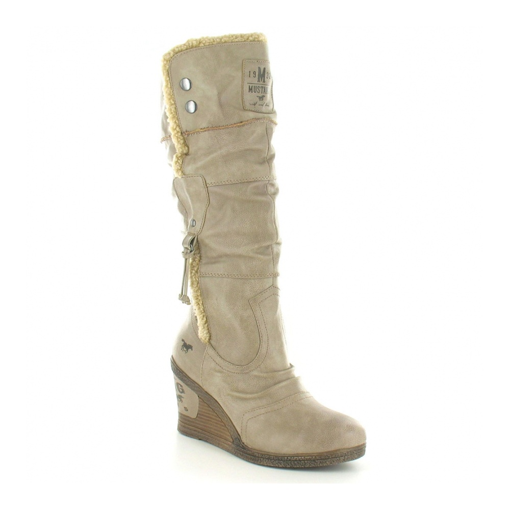 Mustang 1083-608 Womens Warm Lined Tall Wedge Heel Boots - Taupe