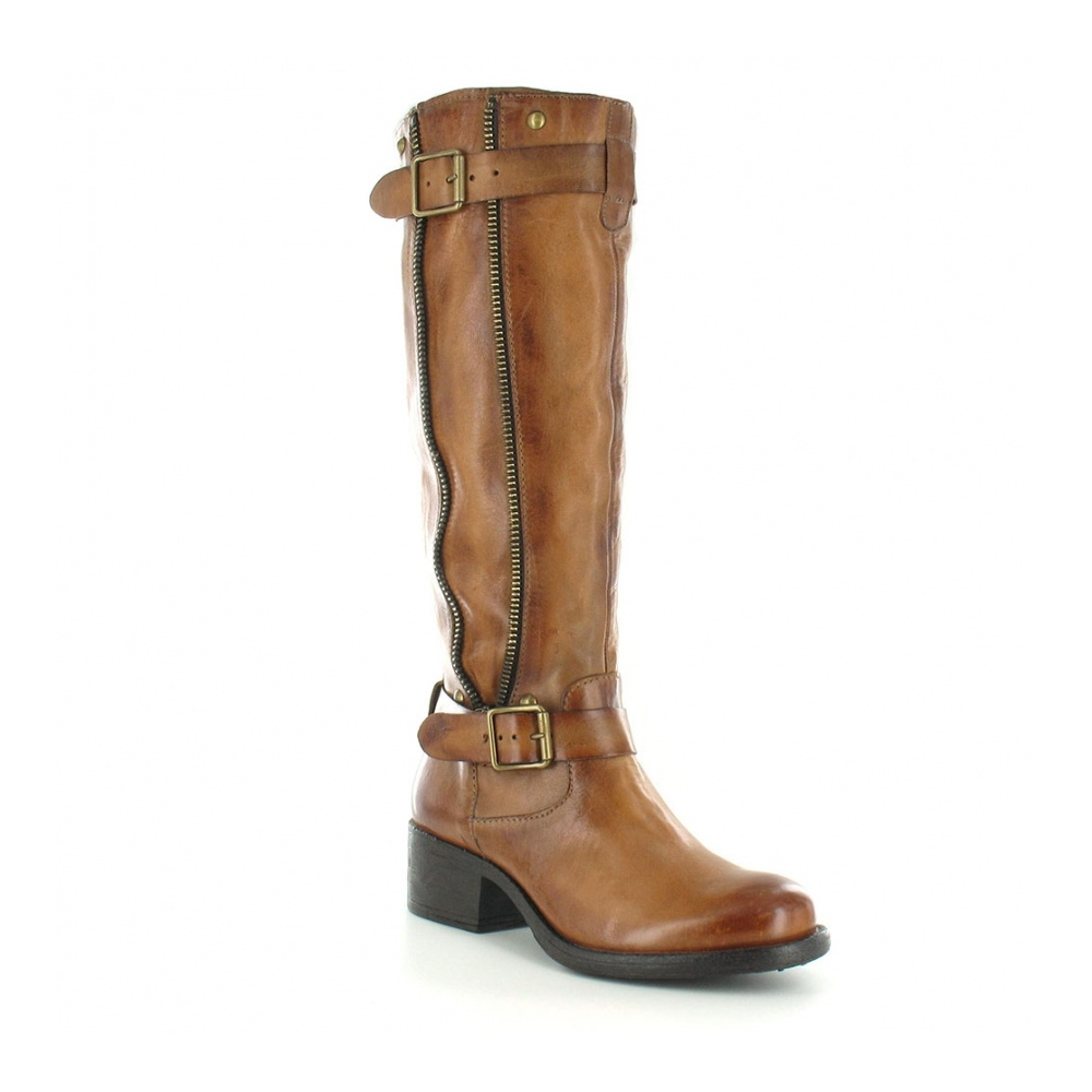 MJUS 604313 Womens Leather Side Zip Tall Boots - Sigaro Tan Brown
