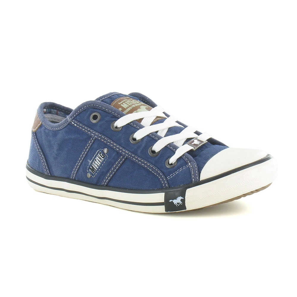 Mustang 1099-302 Womens Canvas Fashion Trainers - Jeans Blue