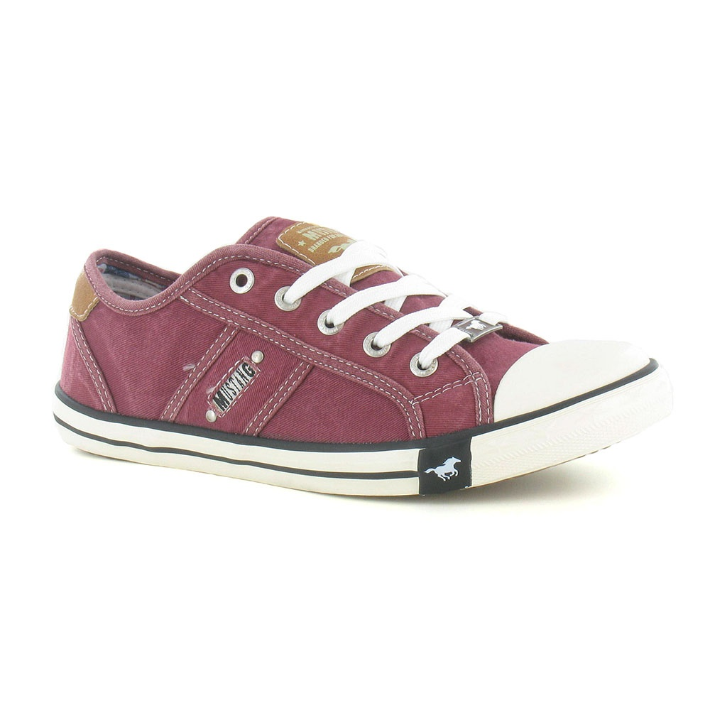 Mustang 1099-302 Womens Canvas Fashion Trainers - Bordeaux Red
