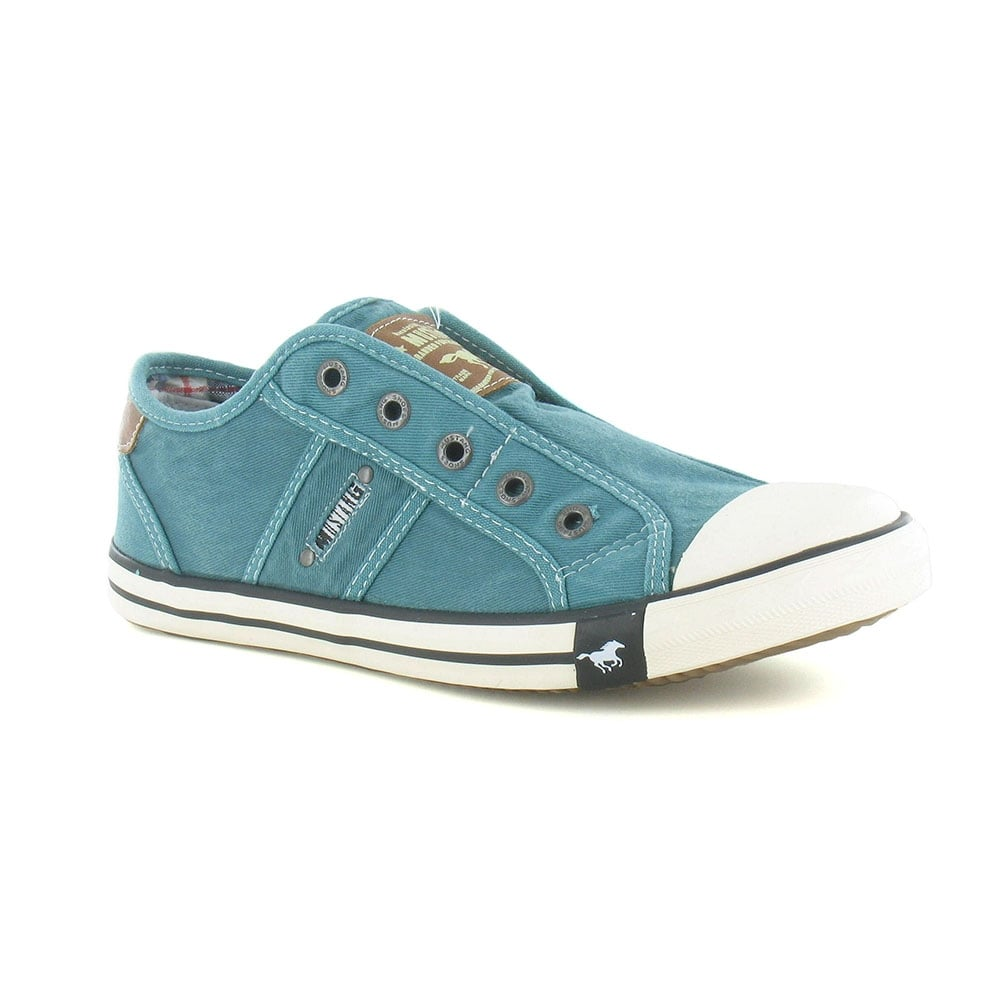 Mustang 1099-401 Womens Canvas Fashion Trainers - Emerald Green