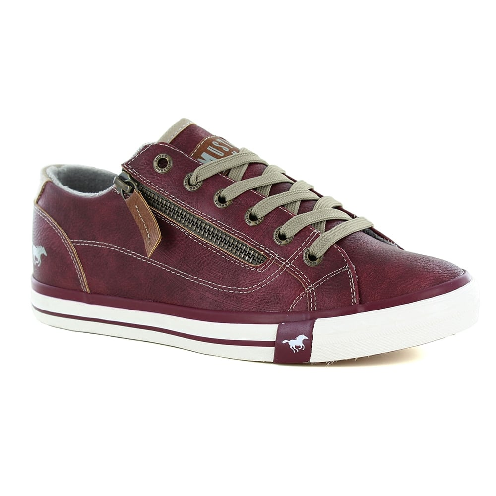 Mustang 120930255 Womens Faux Leather Lace-Up & Side-Zip Trainer Shoes - Bordeaux