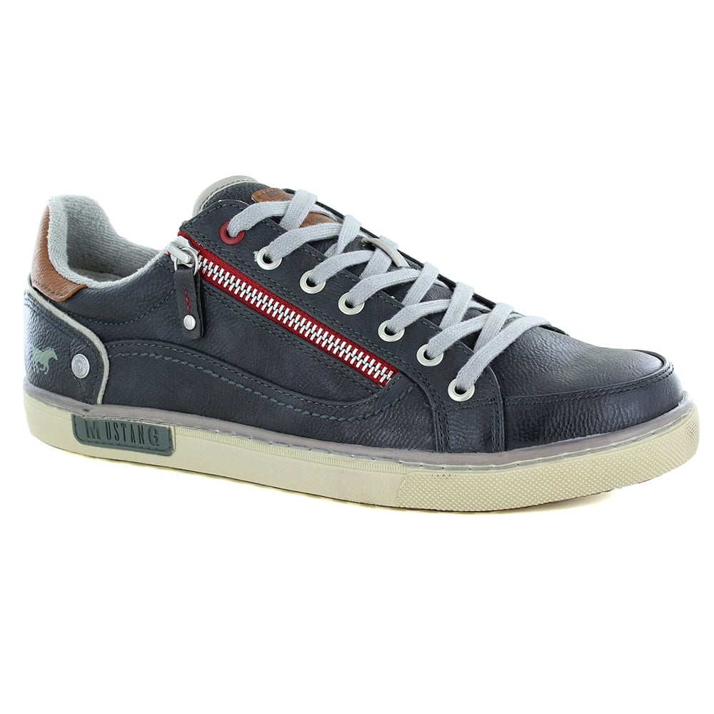Mustang Mens 4080305259 Faux Leather 7-Eyelet Lace-Up & Side Zip Fashion Trainers - Graphite Grey