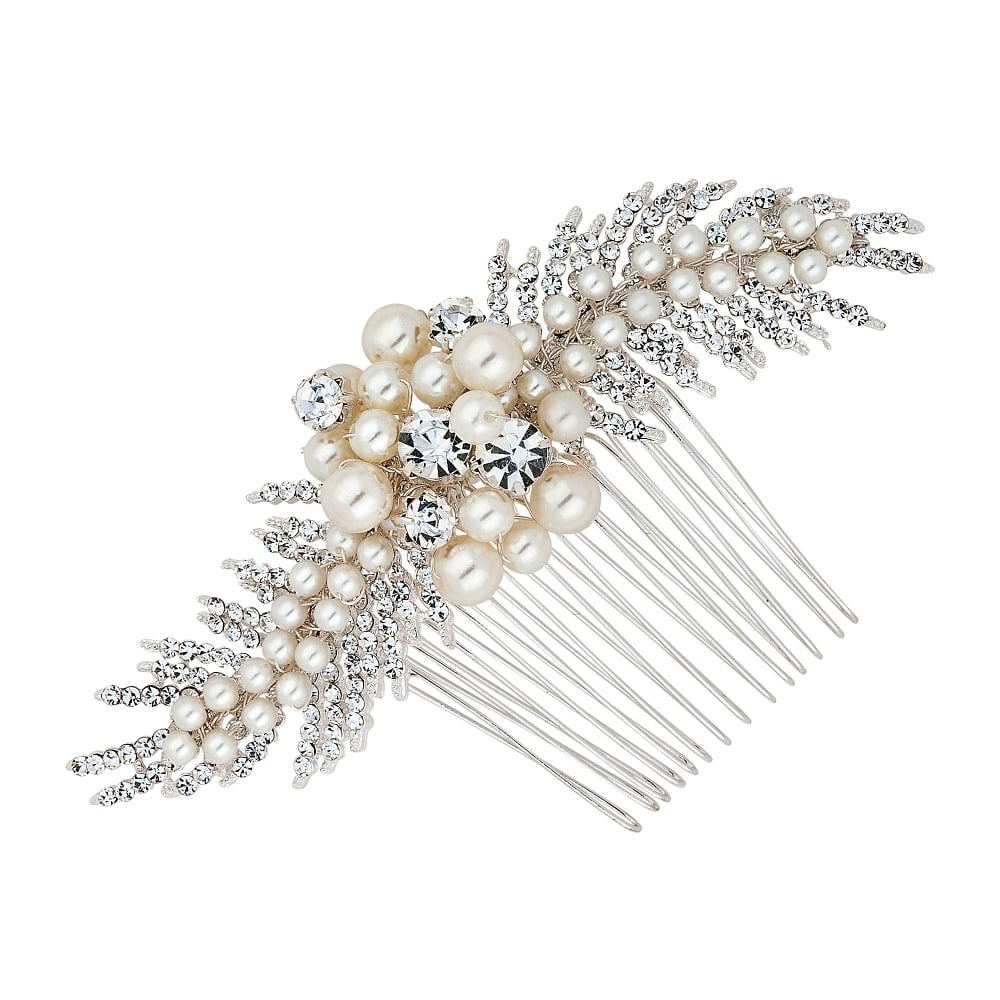 Adelle freshwater pearl and crystal leaf spray comb